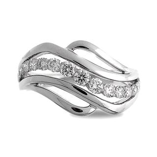 Azaro 18k White Gold 1/2ct TDW Curved Diamond Fashion Band