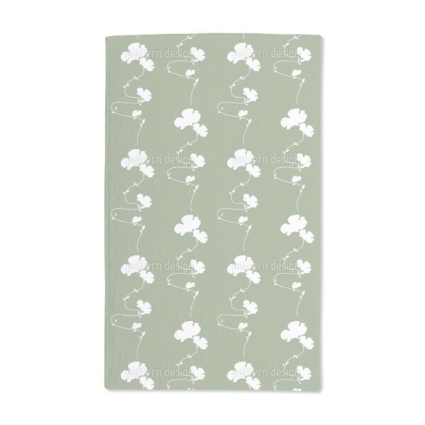 Romantic Floral Design Green Hand Towel (Set of 2)