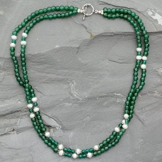 Handcrafted Sterling Silver 'Indian Meadows' Aventurine Onyx Pearl Necklace (6mm) (India)
