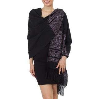 Handmade Cotton 'Black Zapotec Treasures' Rebozo Shawl (Mexico)