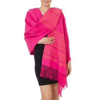 Handcrafted Cotton 'Hot Pink Zapotec Treasures' Rebozo Shawl (Mexico)
