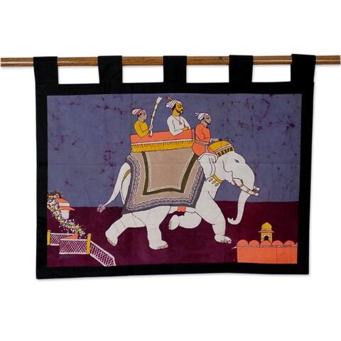 Handmade Cotton 'Royal Ride' Batik Wall Hanging (India)