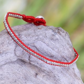 Handcrafted Sterling Silver 'Red Moonlight Path' Bracelet (Indonesia)