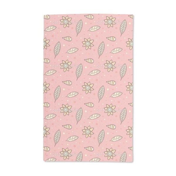 Summer Night Flowers and Leaves Hand Towel (Set of 2)