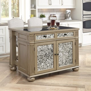 Gracewood Hollow Wheen Kitchen Island and 2 Stools