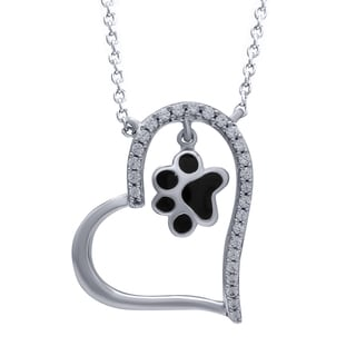 Sterling Silver 1/6ct TDW Diamond Heart Paw Pendant (I-J, I2-I3)