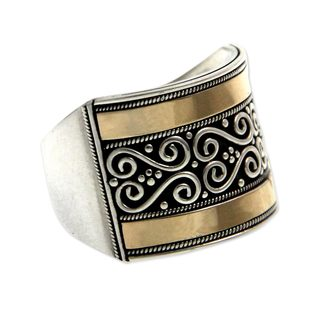 Handcrafted Gold Accent Sterling Silver 'Celuk Gates' Band Ring (Indonesia)