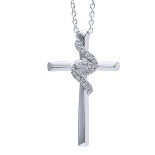 14k White Gold 1/8ct TDW Diamond Cross Pendant