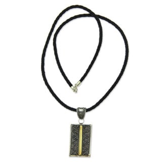 Handcrafted Gold Accent Sterling Silver Leather 'Temple Gate' Necklace (Indonesia)