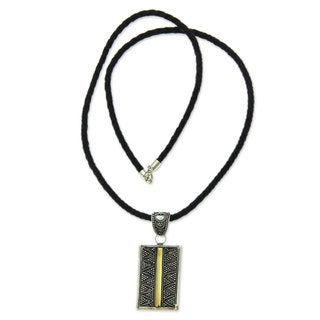 Handmade Gold Accent Sterling Silver Leather 'Temple Gate' Necklace (Indonesia)