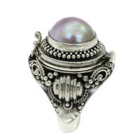 Handmade Sterling Silver 'Rose Secret' Cultured Pearl Locket Ring (12 mm) (Indonesia)