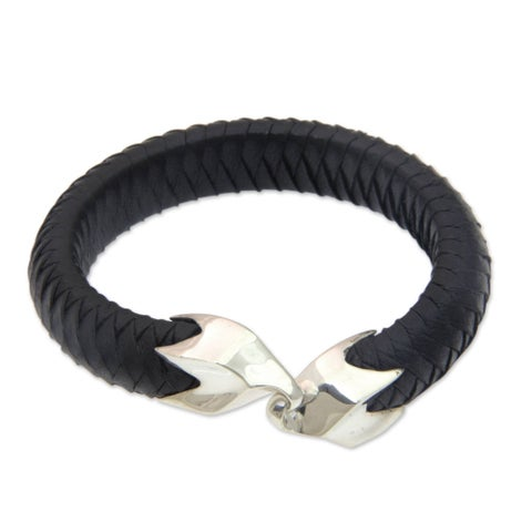 Handmade Men's Leather Sterling Silver 'Energy Flow' Bracelet (Indonesia)