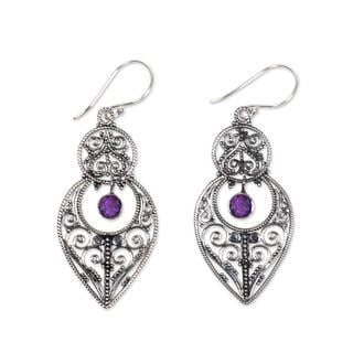Handcrafted Sterling Silver 'Majapahit Glory' Amethyst Earrings (Indonesia)