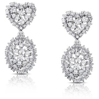 Samantha Stone Sterling Silver Cubic Zirconia Heart and Oval Drop Earrings