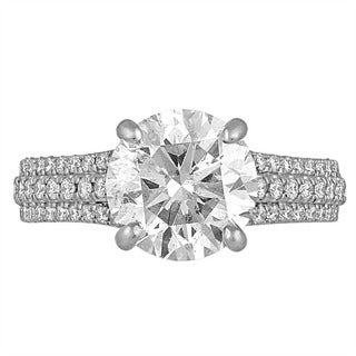 Platinum 4 1/10ct TDW Diamond Engagement Ring By Life More Dazzling (I-J, I1-I2)
