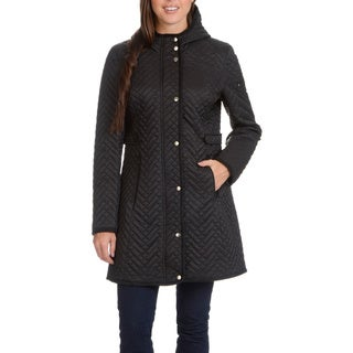 Larry Levine Women's Quilted Coat with Faux Suede Trim