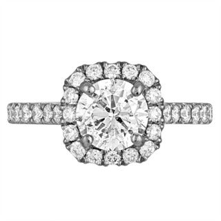 Platinum 2 2/5ct TDW Diamond AGS Certified Engagement Ring (H-I, SI2-I1)
