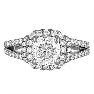 Platinum 3ct TDW Diamond Engagement Ring By Life More Dazzling (E-F, SI2-I1)