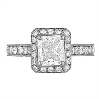 Platinum 3ct TDW Diamond Engagement Ring By Life More Dazzling (I-J, SI1-SI2)