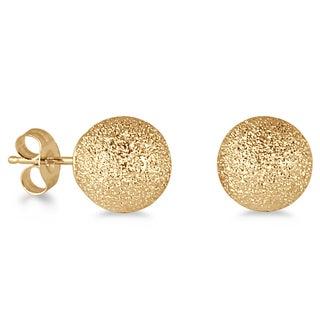 Marquee Jewels 14k Yellow Gold Laser-cut 8-mm Ball Stud Earrings