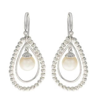 Pearls For You Sterling Silver White Freshwater Pearl and Brilliance Bead 7.5-8-millimeter Dangle Earrings