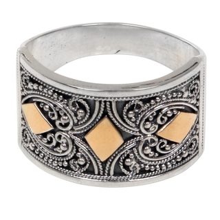 Handcrafted Gold Accent Sterling Silver 'Stars over Bali' Ring (Indonesia)