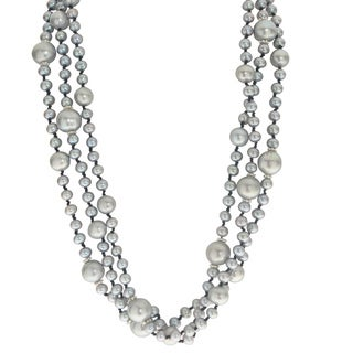 Pearls For You 3-strand 18-inch Grey Freshwater Pearl Necklace