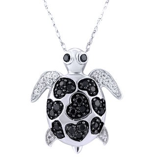 Sterling Silver 1/3CTtw Diamond Turtle Pendant (I1-I2)