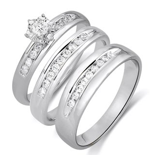 14k White Gold 1/4CTtw Diamond Engagement and Wedding Ring Set (White, HI-I1)