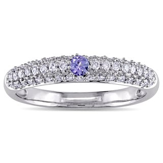 Round-Cut Tanzanite and 1/2ct TDW Diamond Engagement Ring in 14k White Gold by The Miadora Signature Collection