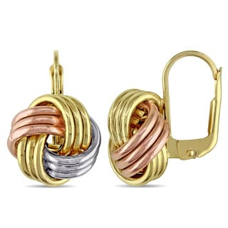 Knotted Leverback Earrings in 10k Tri-color Yellow White and Rose Gold by Miadora