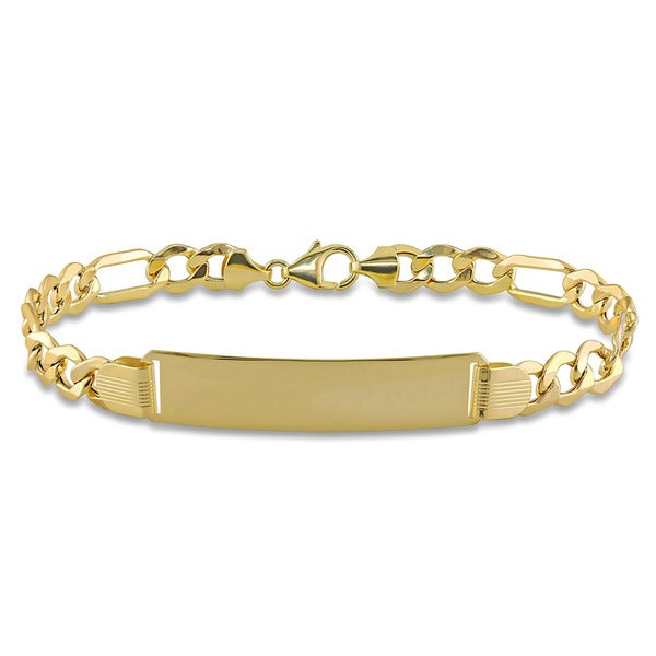 Miadora Men's Engravable Figaro-Style Link ID Bracelet in 10k Yellow Gold