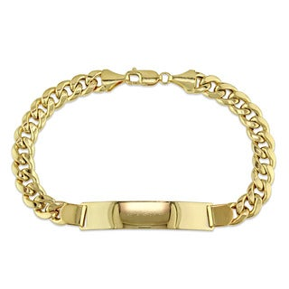 Men's Engravable Curb Link ID Bracelet in 10k Yellow Gold by The Miadora Signature Collection