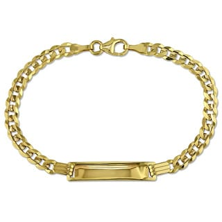 Link Chain ID Bracelet in 10k Yellow Gold by Miadora