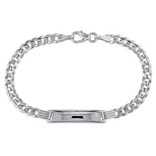 Engravable Link ID Bracelet in 10k White Gold by Miadora