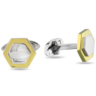 Miadora Hexagon Cuff-Links in 10k 2-Tone White and Yellow Gold