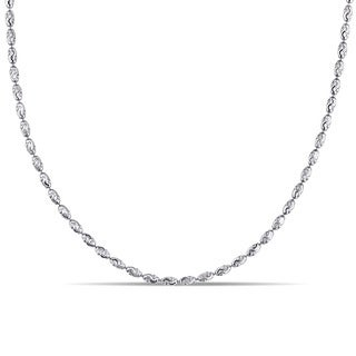 Oval Diamond-Cut Bead Necklace in 18k White Gold by Miadora