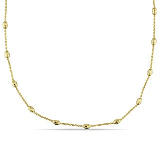 Oval Diamond-Cut Ball Station Necklace in Italian 18k Yellow Gold by Miadora