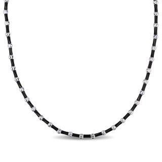 Ball and Tube-Cut Bead Necklace in 2 -Tone 18k Black and White Italian Gold by The Miadora Signature Collection