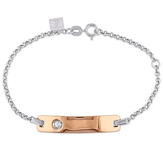 Miadora Baby ID Bracelet in 2-Tone Rose and White Gold with Diamond Accent (G-H,SI1-SI2)