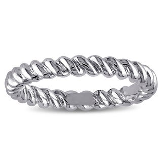 Miadora Twisted Pattern Wedding Band in 18k White Gold