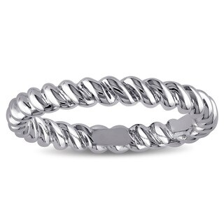 Twisted Pattern Wedding Band in 18k White Gold by Miadora