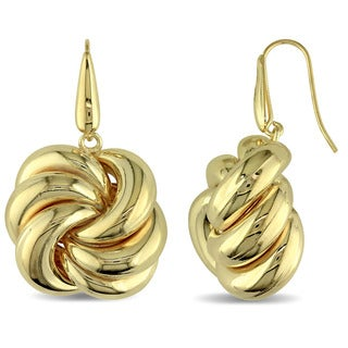 Knot Hook Earrings in Polished Yellow Plated Italian Sterling Silver by Miadora