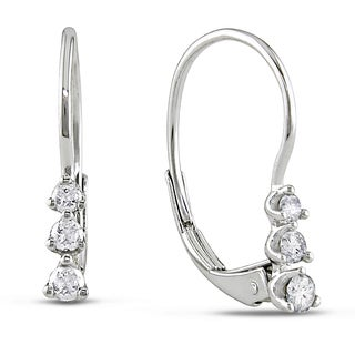 Miadora 10k White Gold 1/4ct TDW Diamond 3-Stone Leverback Earrings (G-H, I2-I3)