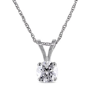 3/4ct TDW Diamond Solitaire Necklace in 14k White Gold by The Miadora Signature Collection
