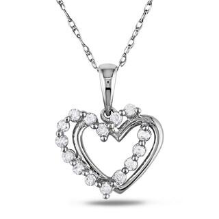 Miadora 10k White Gold 1/5ct TDW Diamond Double Heart Necklace