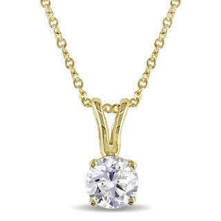 Miadora 3/8ct TDW Diamond Solitaire Necklace in 14k Yellow Gold