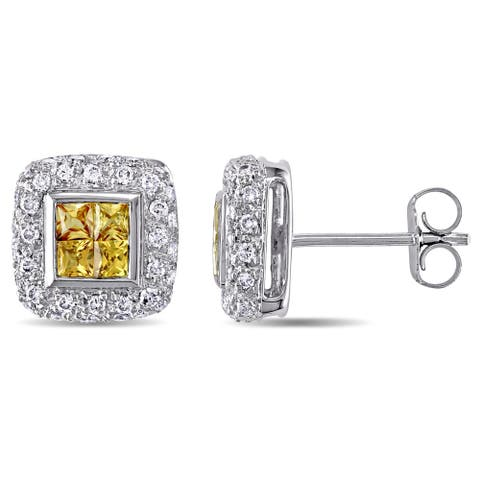 Yellow Sapphire and 3/8ct TDW Diamond Square Halo Stud Earrings in 18k White Gold by The Miadora Signature Collection