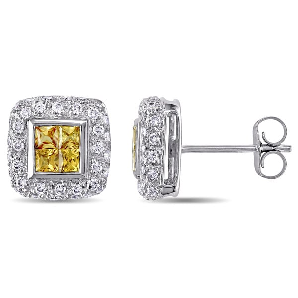 Yellow Sapphire and 3/8ct TDW Diamond Square Halo Stud Earrings in 18k White Gold by The Miadora Signature Collection. Opens flyout.