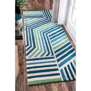 nuLOOM Handmade by Thomas Paul Stripe Blue Runner Rug (2'8 x 8')